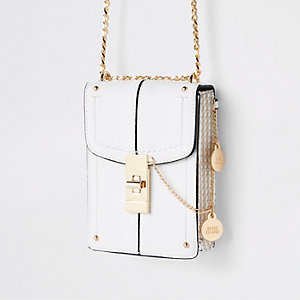 White lock front mini cross body bag
