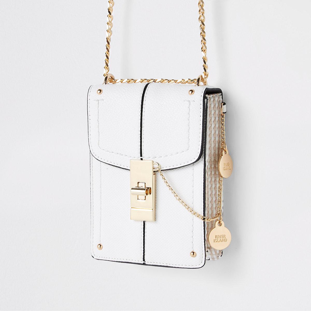 White lock front mini cross body bag