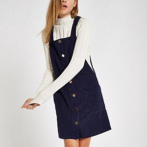Marineblaues Cord-Kleid