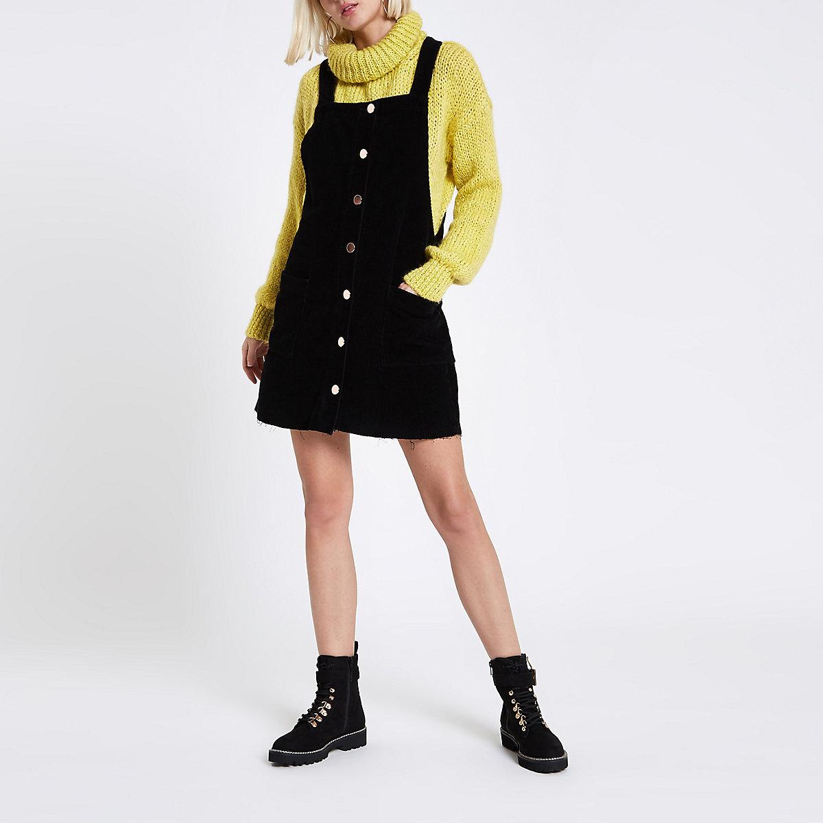 Black cord dungaree dress