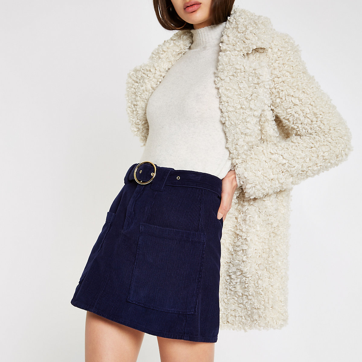 Navy cord belted mini skirt