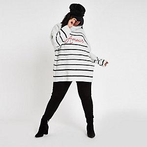 RI Plus - Grijze gebreide pullover met 'Amour'-print en strepen