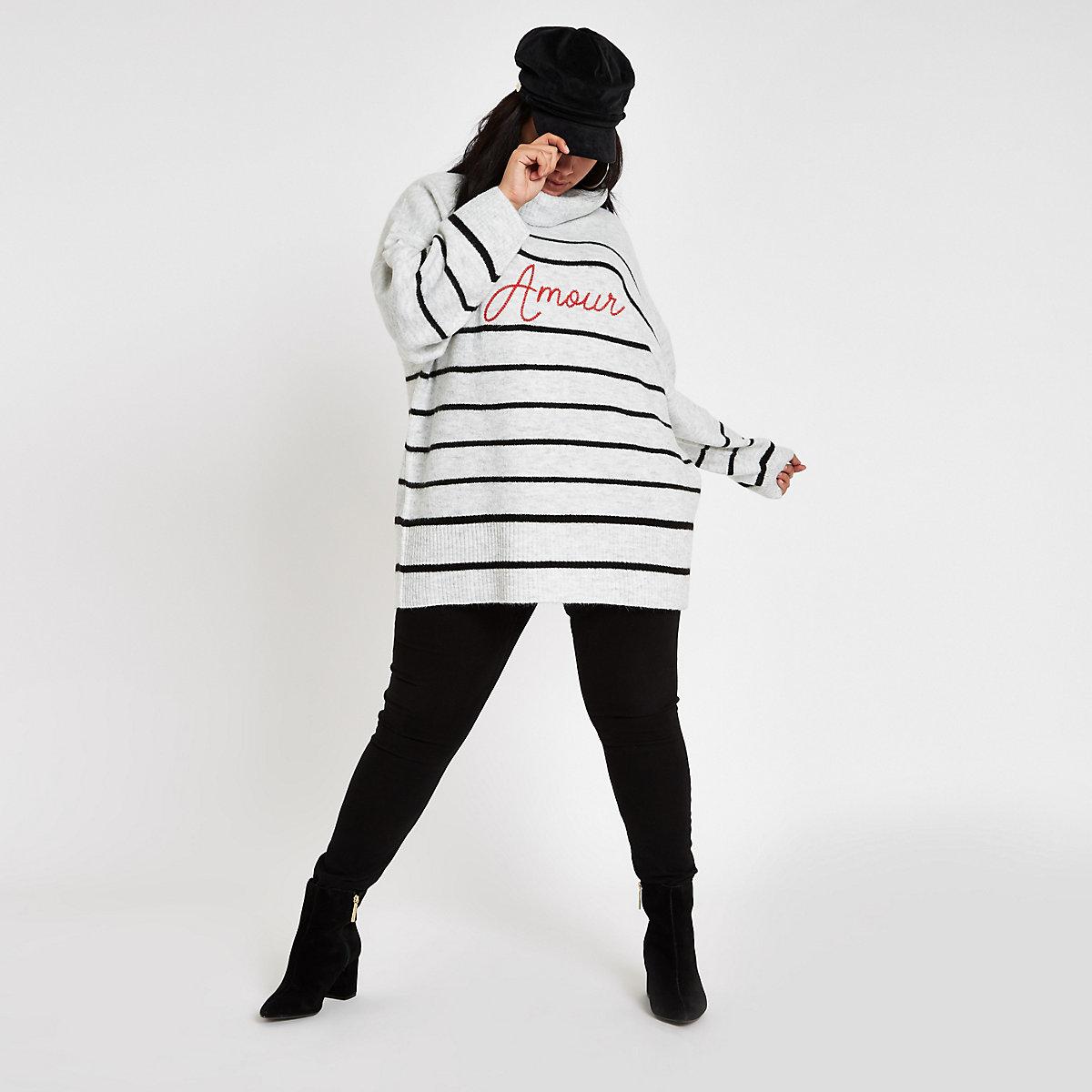 Plus grey 'Amour' stripe knit sweater