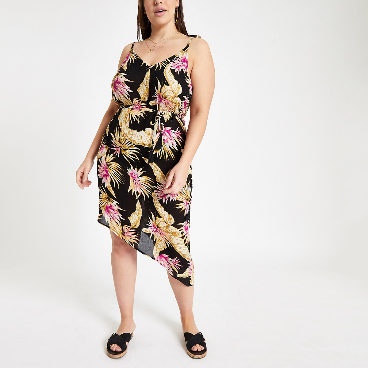 Plus black floral print beach dress