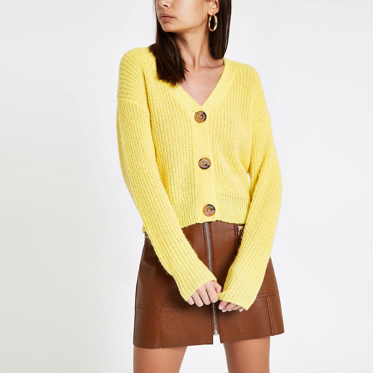 Yellow V neck rhinestone button cardigan