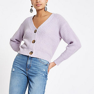 Lilac horn button knit cardigan