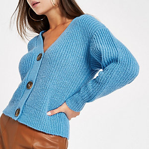 Light blue horn button knit cardigan