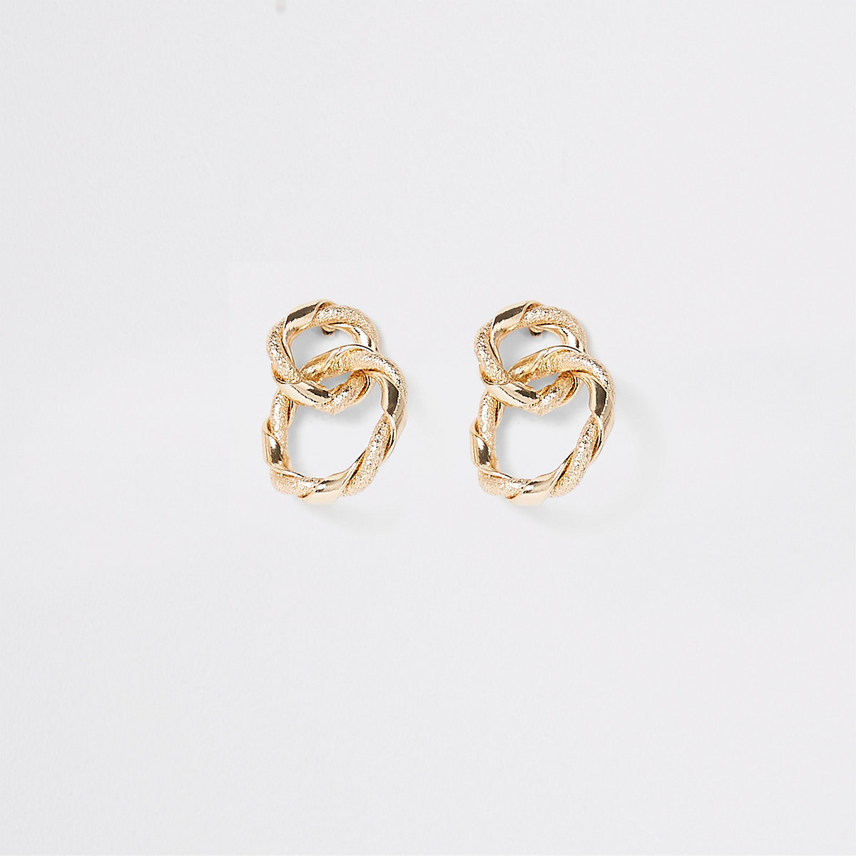 Gold colour twisted interlinked stud earrings