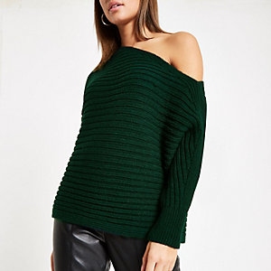 Dark green asymmetric knit sweater