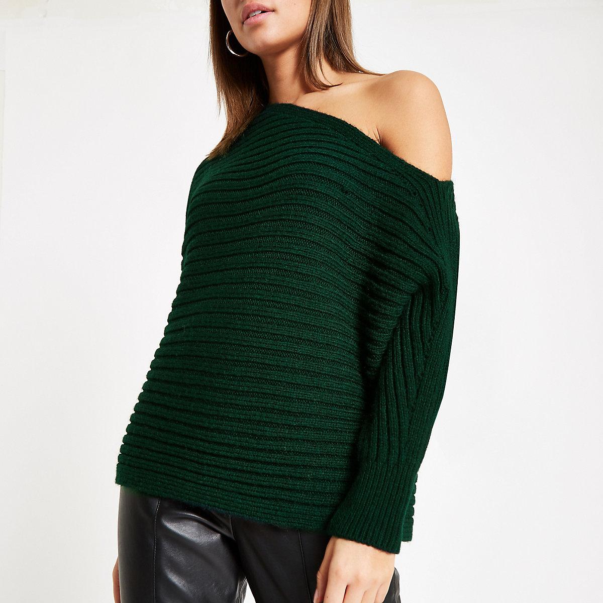 Dark green asymmetric knit jumper