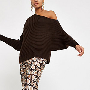 Chocolate asymmetric knit sweater