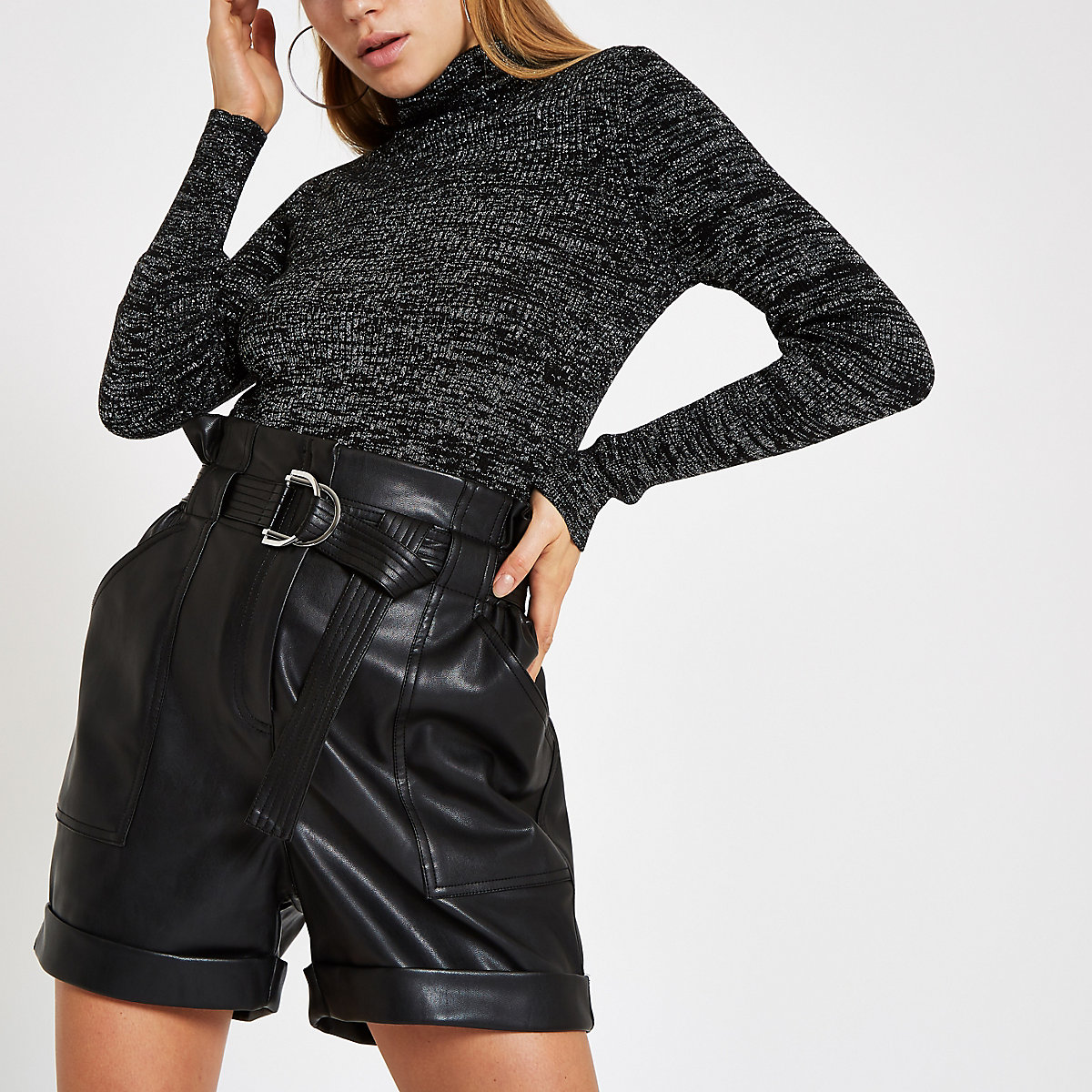 Black metallic stitch roll neck jumper