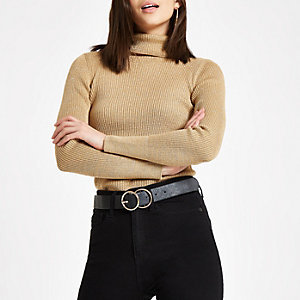Gold ribbed metallic roll neck sweater