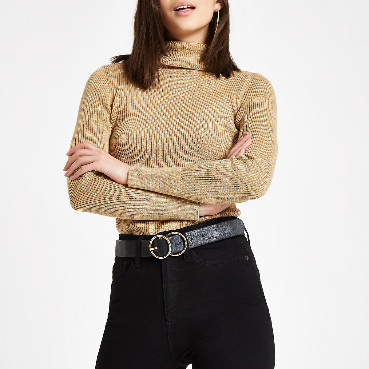 Gold ribbed metallic roll neck jumper