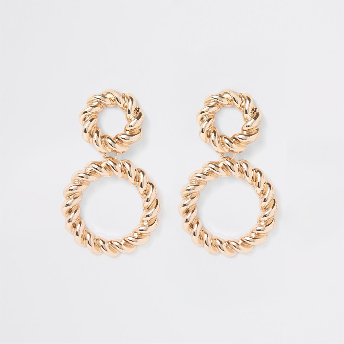 Gold color twisted ring drop earrings
