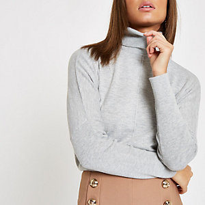 Grey roll neck batwing sleeve jumper