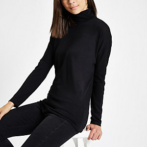 Black roll neck batwing sleeve jumper