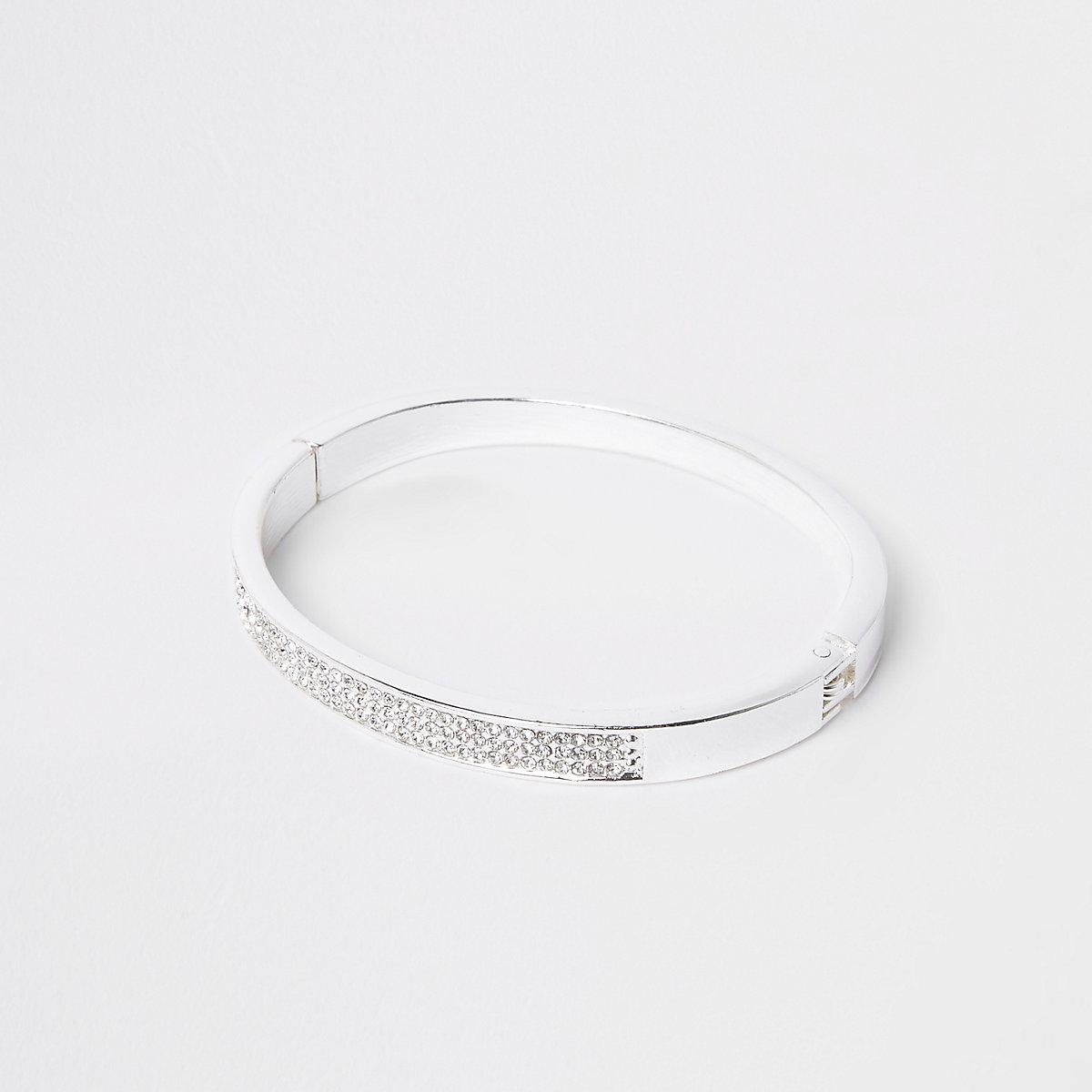 Silver diamante cuff bracelet