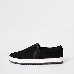 Black faux suede slip on plimsolls