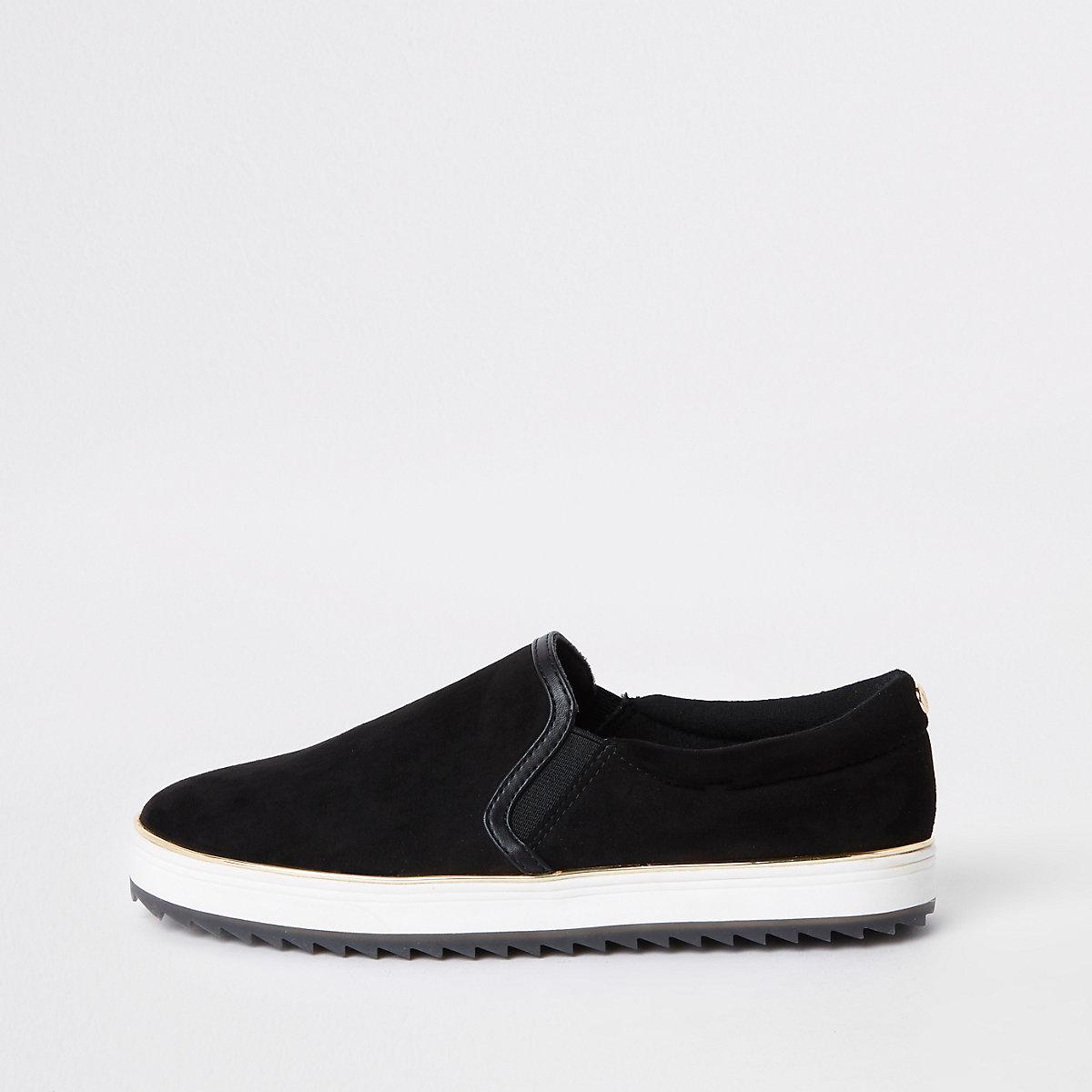 Black faux suede slip on plimsolls