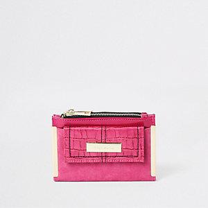 Mini porte-monnaie rose foncé à rabat et poche sur le devant