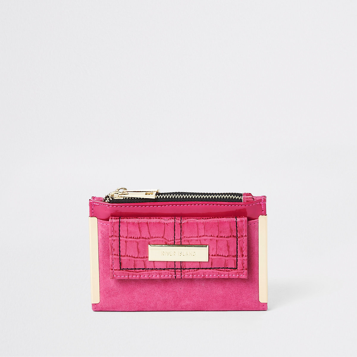 Dark pink front pocket mini foldout purse
