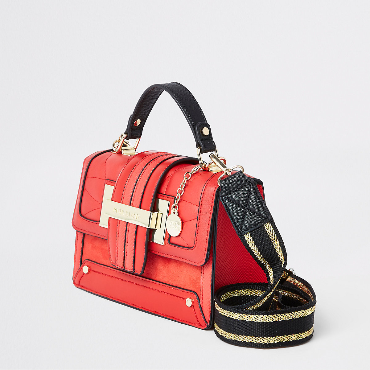 Bright red quilted satchel cross body bag
