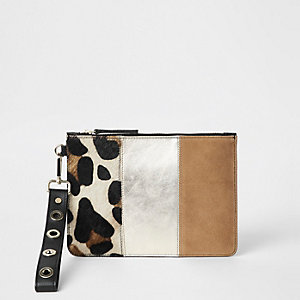 Beige leopard print leather pouch clutch bag