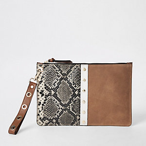 Brown snake print leather pouch clutch bag