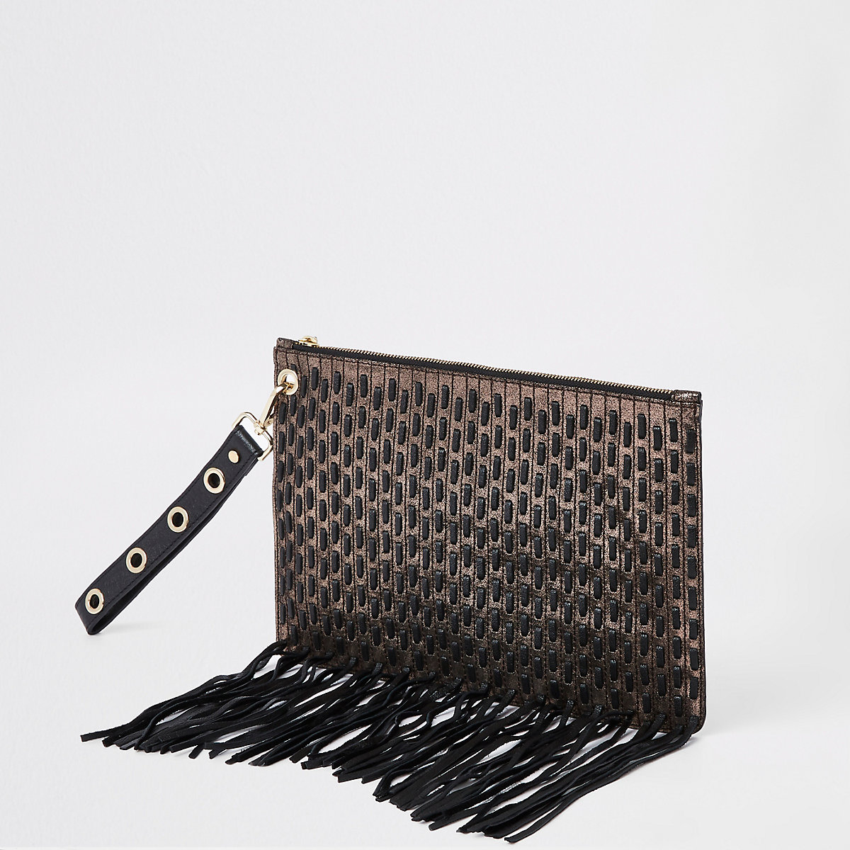 Gold metallic leather pouch clutch bag