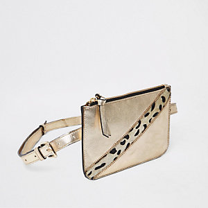 Goudkleurig metallic leren tas met riem