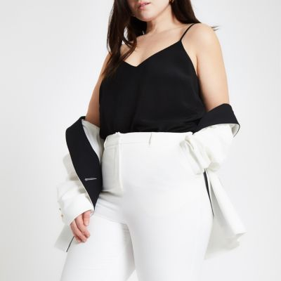 Plus Black Cross Back Cami Top by River Island