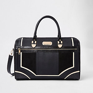 Black mix panel weekend bag