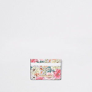 Light pink floral travel card holder
