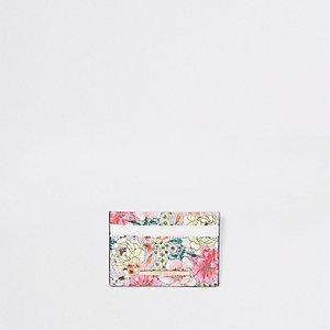 Porte-cartes de voyage à fleurs rose clair