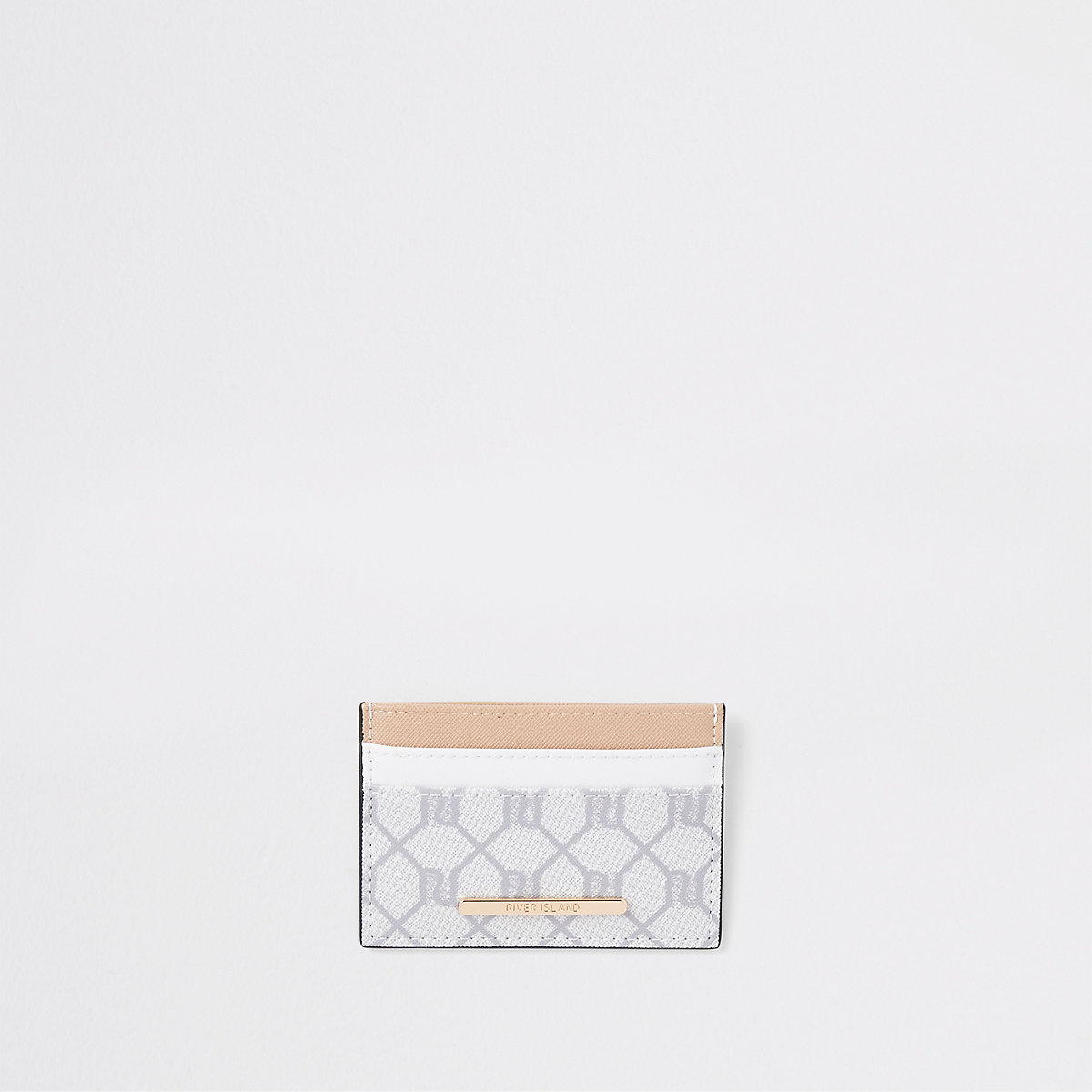 Beige RI monogram travel card holder