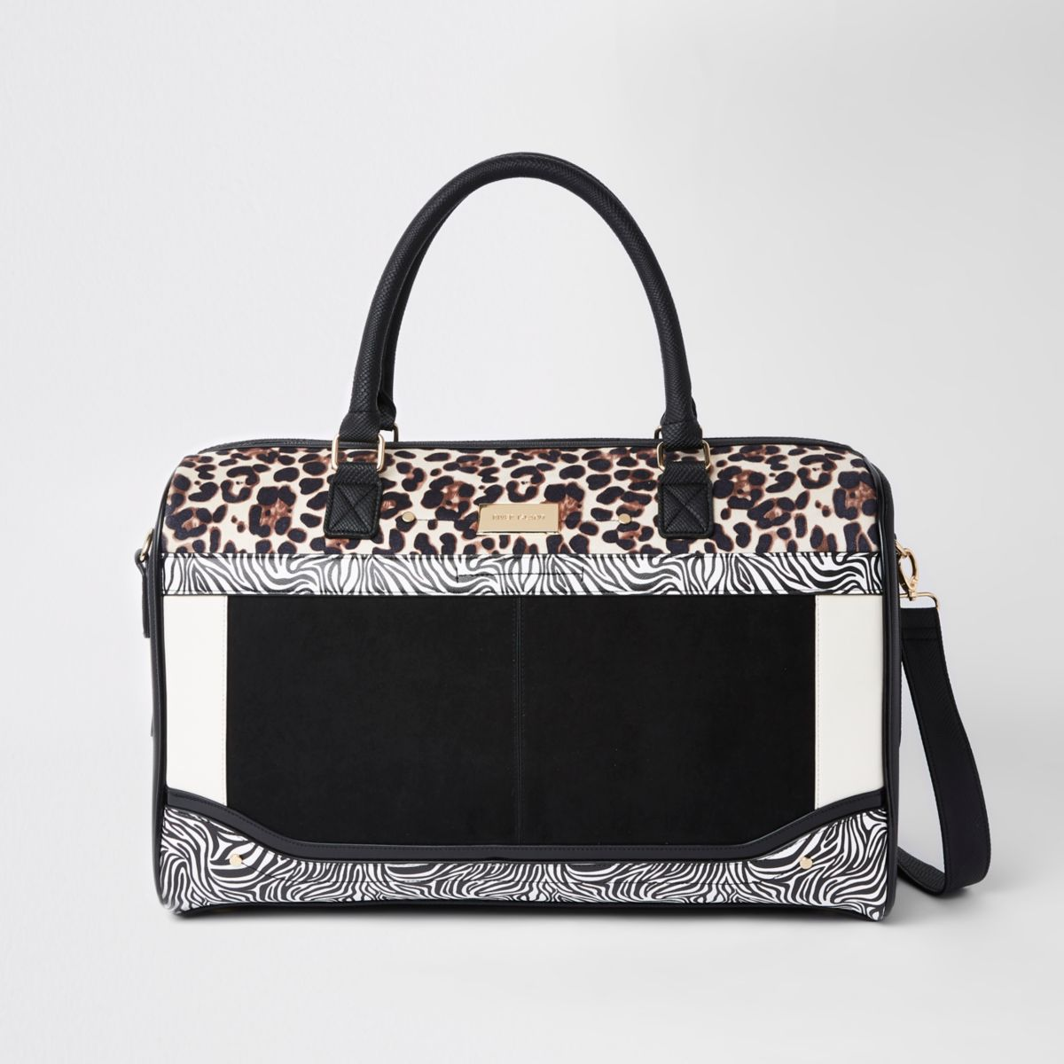 White mixed animal print weekend bag