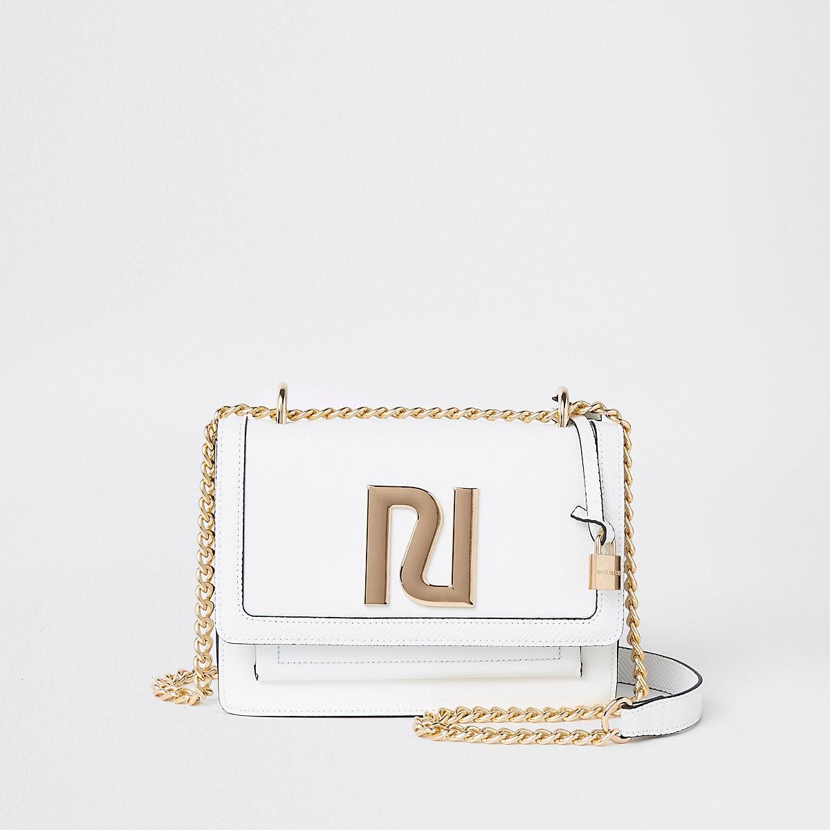 White RI satchel cross body bag