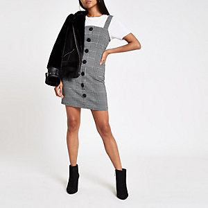 Petite grey check button pinafore mini dress