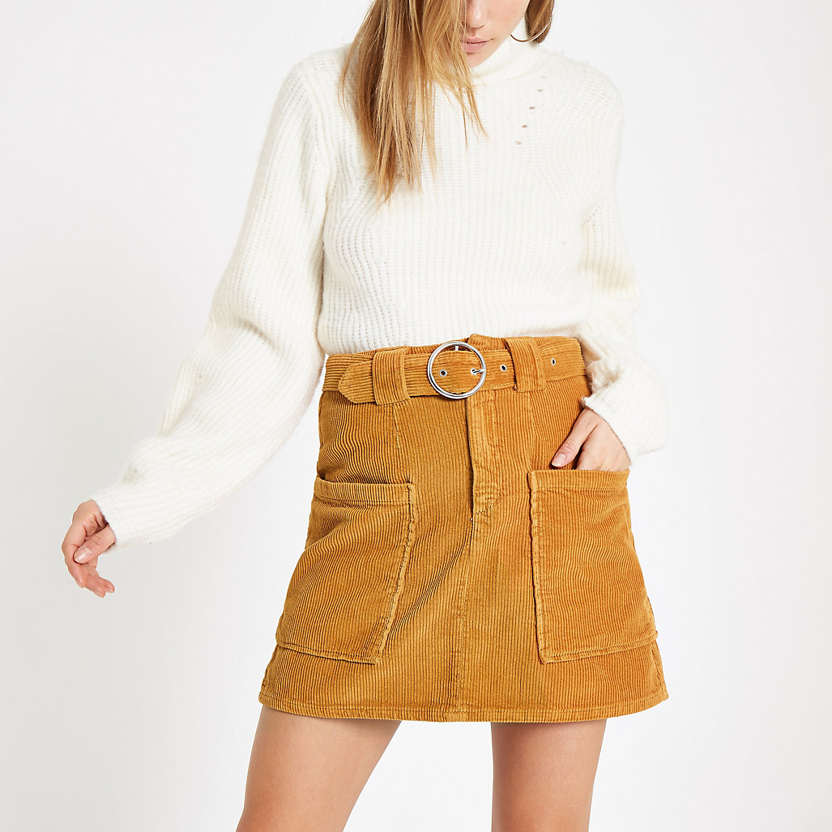 Brown cord belted mini skirt