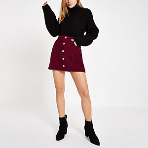 Dark red cord button front mini skirt