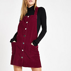 Dark red cord dungaree dress