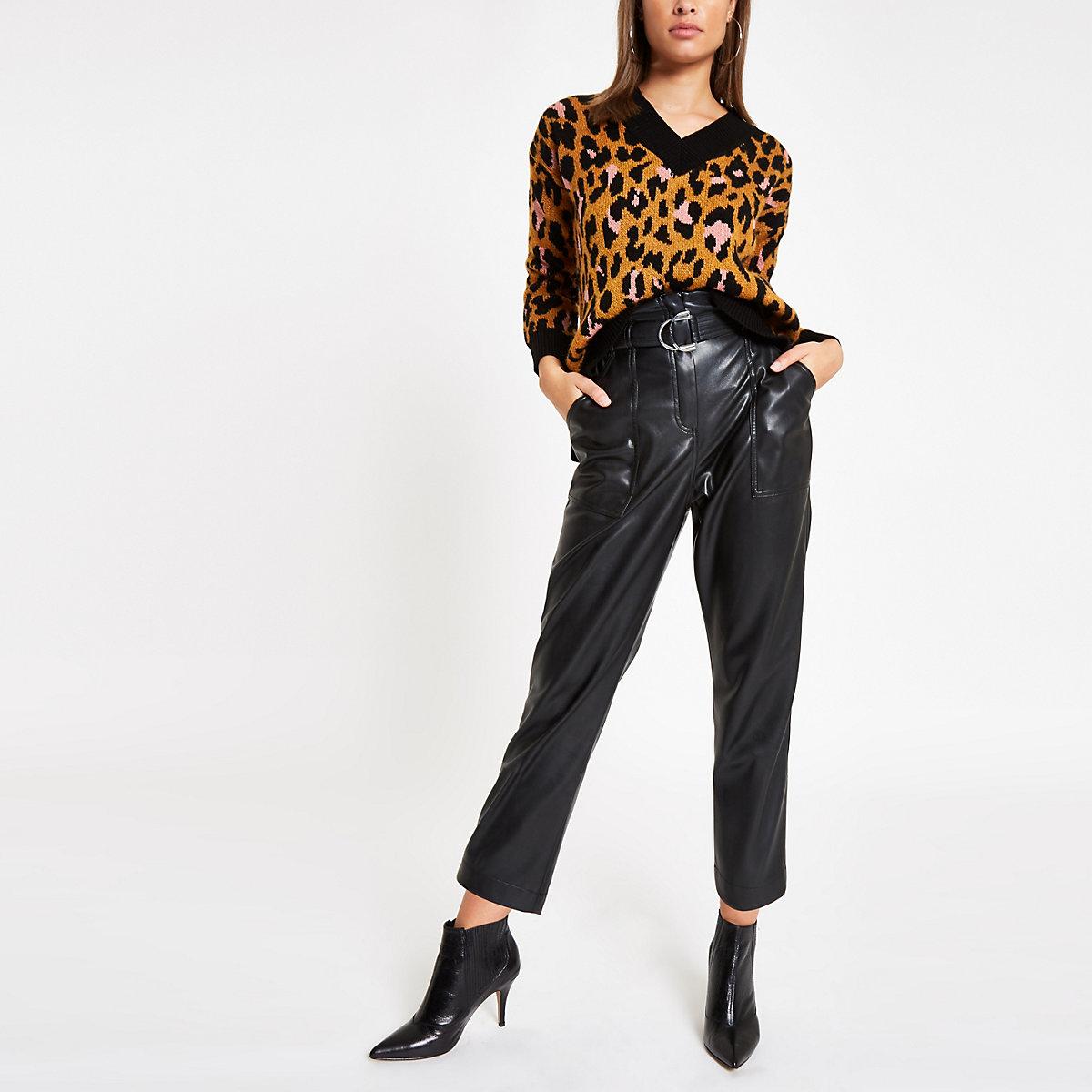 Brown leopard print V neck sweater