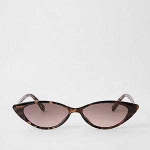 Brown tortoise shell slim cat eye sunglasses