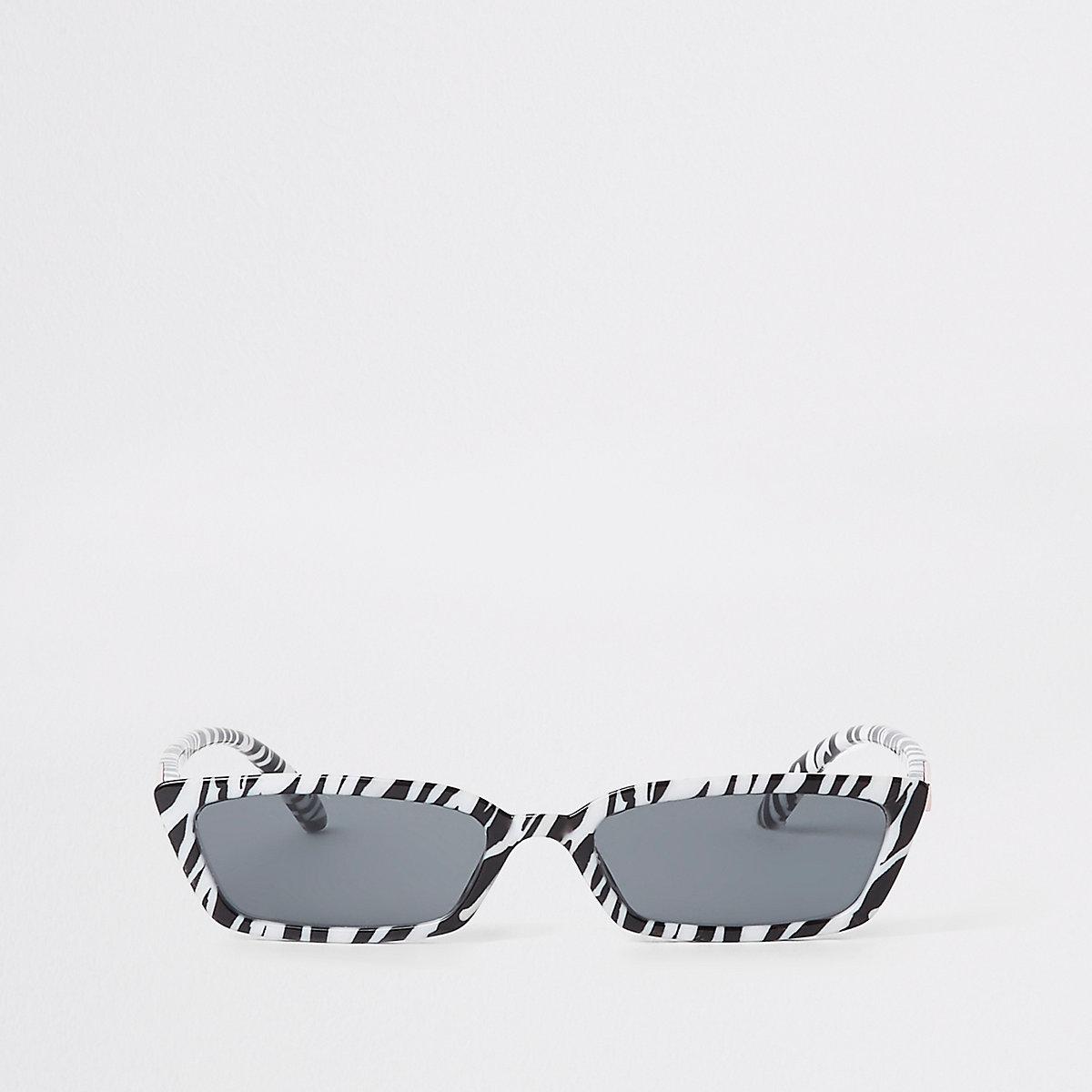 Black zebra print slim frame sunglasses