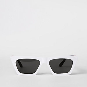White slim visor sunglasses
