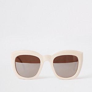 Beige vierkante glamoureuze zonnebril