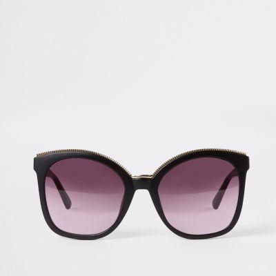 Black Gold Trim Matte Glam Sunglasses by River Island