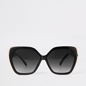Black hexagon glam sunglasses
