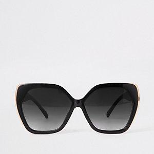 Lunettes de soleil glamour hexagonales noires